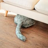 無頭貓 趨然網紅哈士奇搖尾巴長毛靠墊玩具ins仿生二哈抱枕公仔沙發靠墊