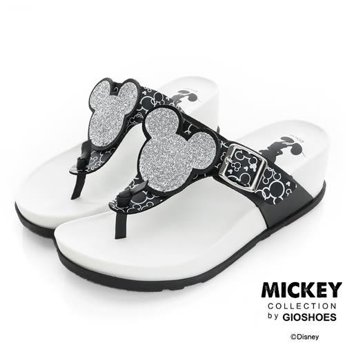 Disney 慵懶時尚~閃亮米奇頭夾腳楔型拖鞋-黑白