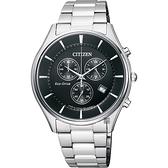 CITIZEN 星辰 光動能新世代計時腕錶-黑x銀/40mm AT2360-59E