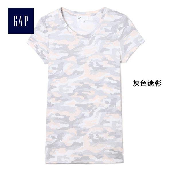 Gap女裝 復古印花圓領短袖T恤 269047-灰色迷彩