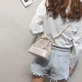 斜背包 可愛珍珠蕾絲果凍水桶包萌單肩斜挎包【紐約周】