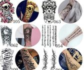 防水紋身貼男女持久仿真韓國花臂3d性感圖騰刺青遮疤身體彩繪貼紙