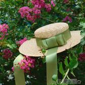 手工麥秸桿平頂禮帽復古綁帶橄欖綠遮陽草帽古董帽文藝