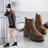 粗跟短靴-歐美顯瘦復古側拉鍊女馬丁靴2色73is39【時尚巴黎】
