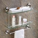 毛巾架 洗手間衛浴架浴室歐式五金掛件毛巾架2層3層壁掛衛生間玻璃置物架