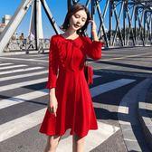 長袖小禮服秋裝新款荷葉邊連身裙8502GD3F-326-B紅粉佳人