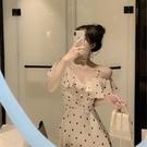 智熏法式復古波點吊帶雪紡連身裙2019流...