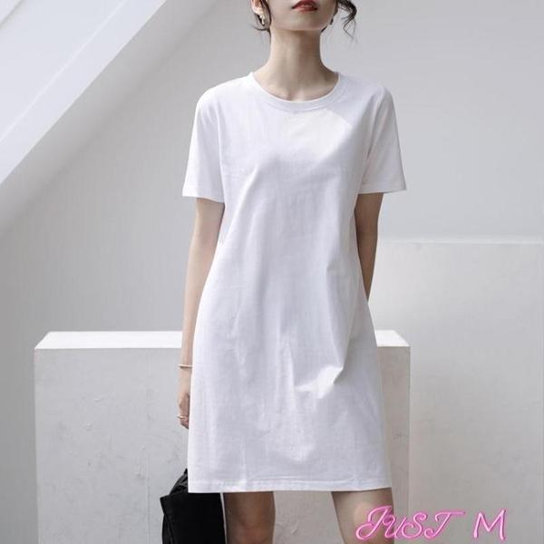 T恤洋裝女棉連身裙夏寬鬆中長款t恤白色氣質遮肚2021新款韓版休閒裙半身 JUST M