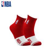 NBA 平版襪 MIT 運動配件 LogoMan色塊刺繡短襪 (紅/白)