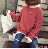 中大尺碼哺乳衣 產后外出秋冬新款純色哺乳上衣寬鬆休閒秋季喂奶衣衛衣 DR7848【Rose中大尺碼】