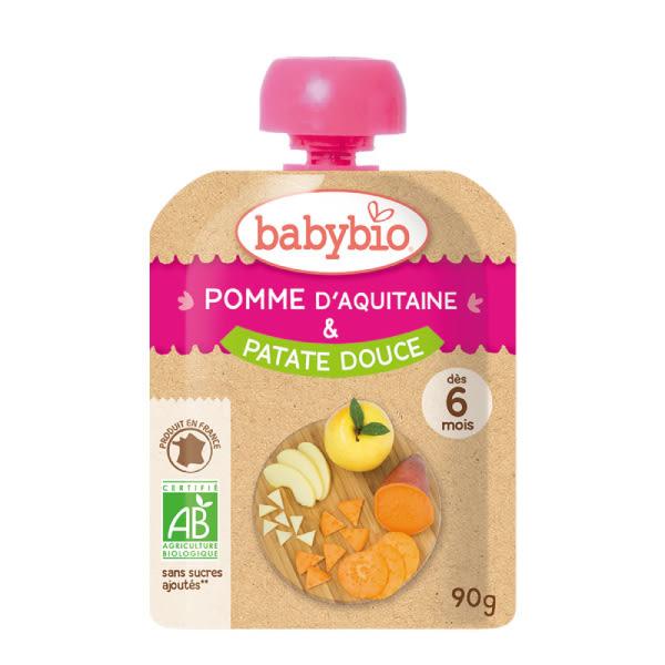 BABYBIO 有機蘋果甜薯纖果泥90g-法國原裝進口6個月以上嬰幼兒專屬副食品