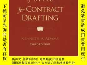 二手書博民逛書店A罕見Manual Of Style For Contract DraftingY255562 Kenneth