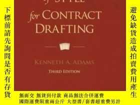 二手書博民逛書店A罕見Manual Of Style For Contract DraftingY255562 Kenneth
