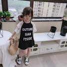 夏季新款兒童洋裝 女童寶寶插肩設計蕾絲闊袖拼接字母T恤裙 夏季新品