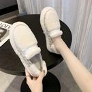 毛毛鞋女冬外穿2021年新款秋季一腳蹬鞋女厚底加絨棉鞋豆豆鞋子潮 韓國時尚週