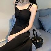 吊帶裙子夏季森系超仙收腰顯瘦溫柔風氣質法式小眾洋裝女黑長裙【快速出貨】