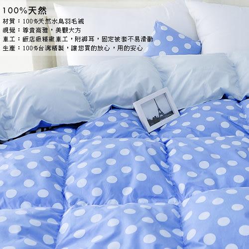 【安妮絲Annis】100%台灣製造、特級100%天然水鳥雙人羽絨被、6X7尺水玉點點藍、蓬鬆輕盈保暖不跑毛