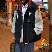羊羔毛外套男假兩件加厚棉服秋冬季加絨棉衣【創世紀生活館】
