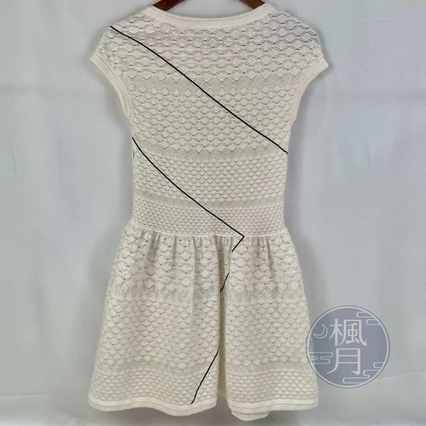 BRAND楓月 CHANEL 香奈兒 米白色刺繡款 微蓬裙洋裝 夏日短洋裝 黑色線條造型 尺寸34