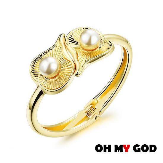 OH MY GOD荷葉珍珠銅鍍金手環