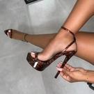清倉促銷 17明星同款16cm公分恨天高女鞋超高跟細跟防水臺夜店性感涼鞋40碼