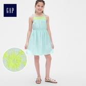 Gap女童 圓領刺繡流蘇寬擺吊帶洋裝 兒童蝴蝶結裙子 464580-淡水藍色