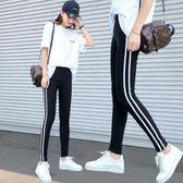 虧本衝量-運動打底褲女外穿新款高腰緊身兩條杠條紋黑色彈力九分褲子女 快速出貨
