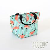本月限定5折  ▎英國ECO CHIC 輕量保溫冷袋(紅鶴) 手提袋 環保袋 購物袋 收納袋 野餐 英國