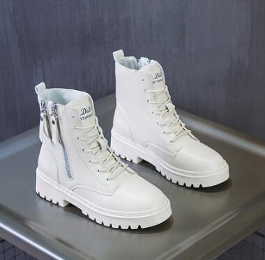 靴子 米白色馬丁靴女英倫風春季單靴2021年新款網紅瘦瘦靴短靴子厚底【快速出貨八折搶購】