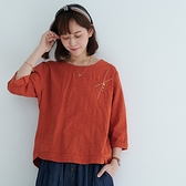 【慢。生活】輕文藝造型緹花紋上衣 606  FREE 橘色