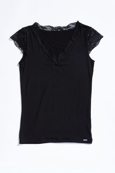 BlackSpade Comfort 女性蕾絲V領上衣
