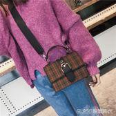 格子包包女潮韓版寬肩帶斜背百搭單肩小方包   蜜拉貝爾