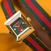 Gucci G-FRAME 都會女子雙圈尼龍腕錶 YA128527 熱賣中!