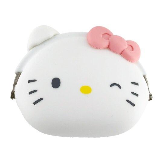 小禮堂 Hello Kitty 矽膠口金零錢包 防水零錢包 小物包 耳機包 口金包  p+g design (白 大臉) 4582406-78023