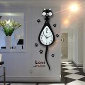 85折搖尾貓咪鐘錶掛鐘客廳北歐創意個性靜音搖擺開學季