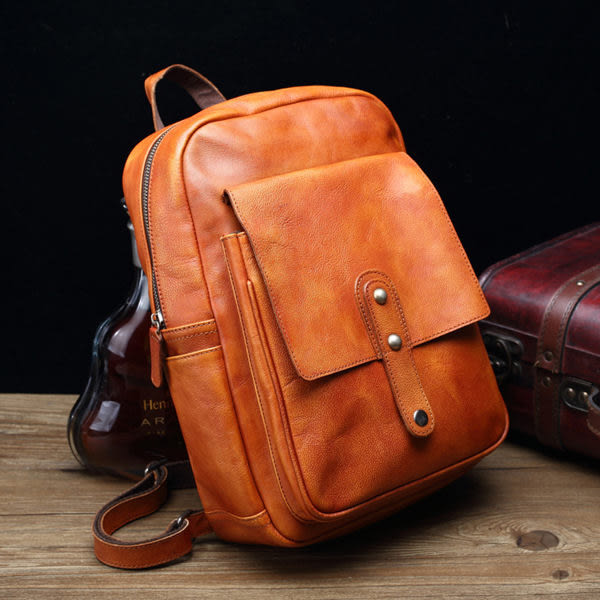 【Solomon 原創設計皮件】真皮後背包 牛皮包包 旅行包 拉鍊開口 中性背包
