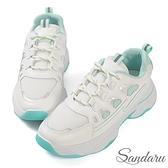 小白鞋 清新配色綁帶厚底休閒鞋-綠