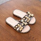 拖鞋 女童涼拖鞋夏季2018新款兒童韓版母女親子公主休閒百搭珍珠一字拖 珍妮寶貝