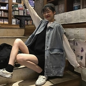 寬鬆牛仔馬甲女學生無袖外套顯瘦百搭時尚潮酷原宿大口袋韓版背心 【ifashion·全店免運】