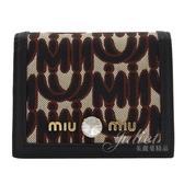 茱麗葉精品【全新現貨】MIU MIU 5MV204 刺繡LOGO水鑽飾扣式短夾.黑