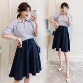 韓版襯衫 及膝裙套裝大尺碼9378#夏新款女裝胖mm套裝半身裙顯瘦減齡兩件套(F4056)