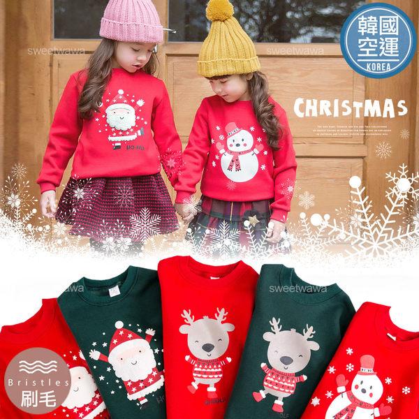 韓國童裝~歡樂新年麋鹿雪人長袖上衣(厚棉,內刷毛)~禦寒保暖(240680)★水娃娃時尚童裝★