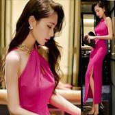 韓版小洋裝裝夜店性感掛脖包臀開叉小洋裝長款禮服旗袍
