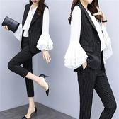 中大尺碼XL-5XL寬鬆休閒時尚三件套裝27407秋裝款胖mm大碼女裝洋氣套裝豎條紋馬甲襯衫三件套