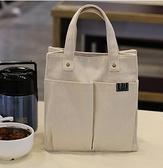 帆布日式便當包學生飯盒袋包防水帶飯的手提袋手拎包斜挎簡約書袋
