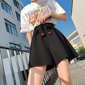 雪紡短褲 大碼五分褲女適合胯大腿粗的雪紡短褲寬管高腰顯瘦花苞褲子-Ballet朵朵