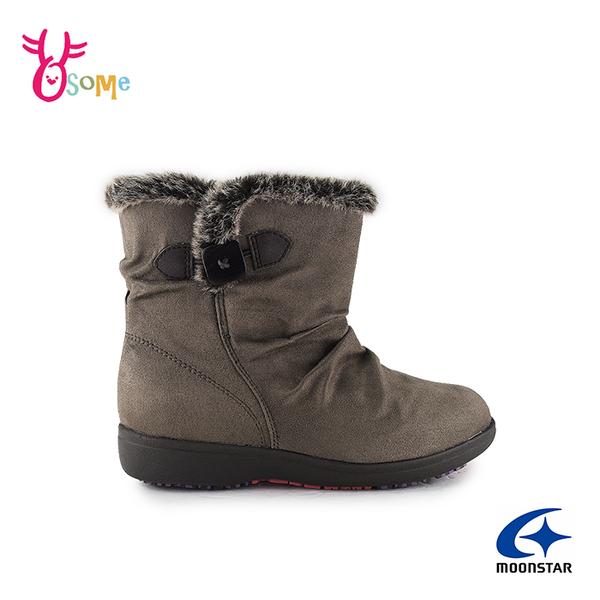 Moonstar月星日本防水靴 雪靴 成人女款 低調優雅時尚發熱機能短靴 I9604#灰棕