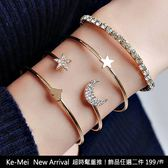 克妹Ke-Mei【AT50152】韓國2019初春熱賣START星星月亮水鑽金屬手鍊四件式