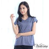 Victoria 圓貼片V領基本短袖T-女-藍混紗