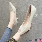 熱賣低跟鞋 韓版百搭高跟鞋女米色低跟3cm小清新工作職業單鞋貓跟細學生禮儀 coco